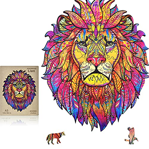 Wooden Jigsaw Puzzles for Adults - Wooden Puzzles for Adults Majestic- Lion King Wooden Puzzles Box Extra Large Animal Shaped Puzzles Best Gift for Adults and Kids