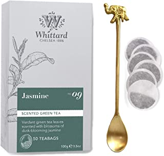 WHITTARD Jasmine 50 Traditional Teabags with an Elegant and beautiful elephant heritage motives Brass Tea Spoon. All caref...