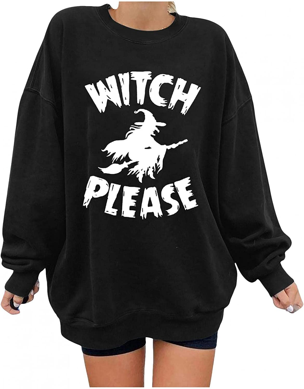 FABIURT Long Sleeve Shirts for Women,Women's Halloween Skull Vintage Graphic Crewneck Sweatshirts Pullover Tops Tee