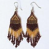 African Zulu beaded earrings - Chandelier NEW DESIGN- Gold/bronze/brown - Gift for her