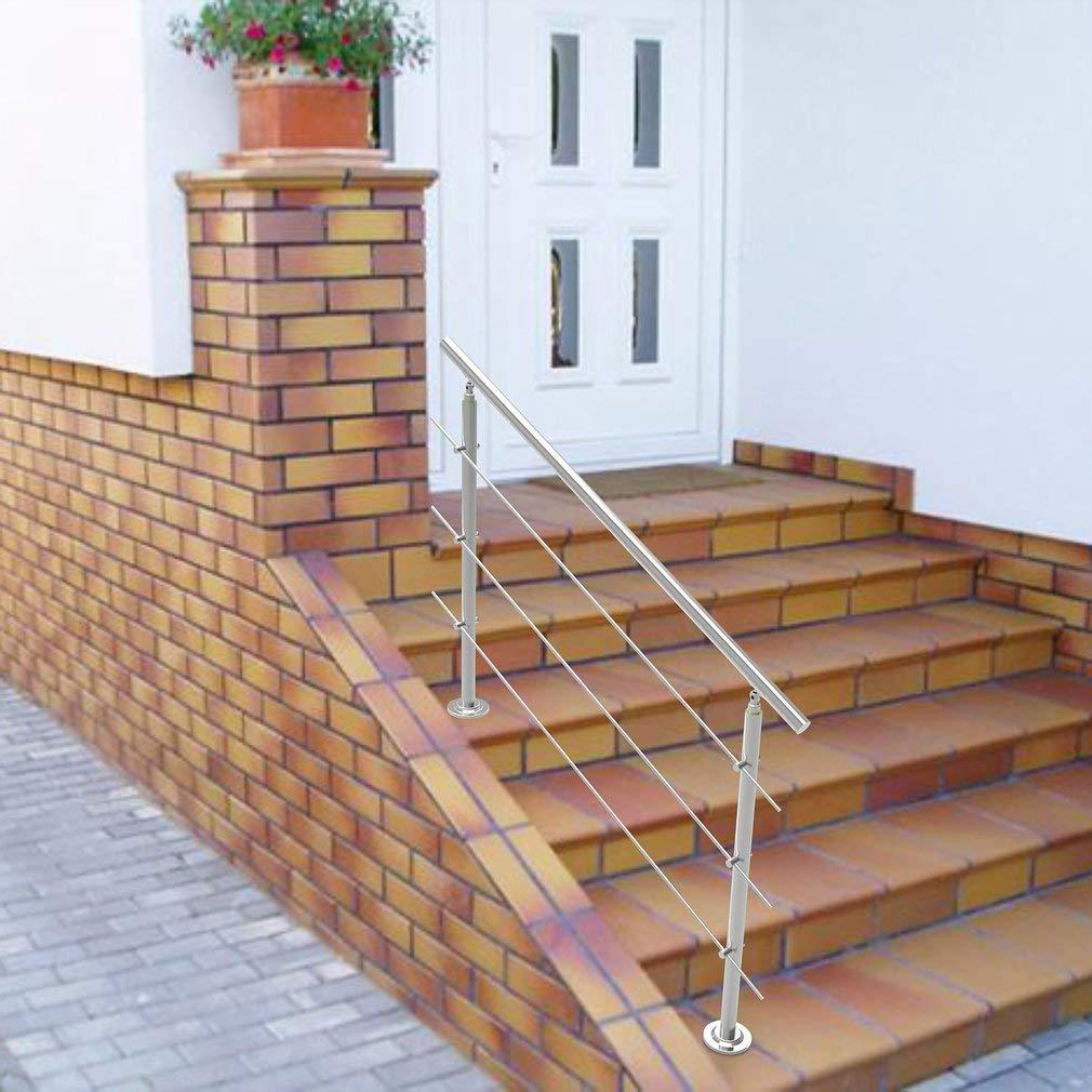 Kitechildhrrd - Barandilla para escaleras y balcones (80 cm, acero inoxidable), color plateado, Plateado: Amazon.es: Bricolaje y herramientas