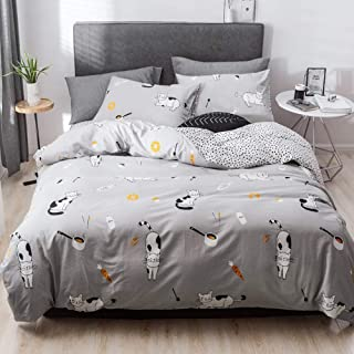 HIGHBUY 3 Piece Full Bedding Sets Cat Print Kids Queen Duvet Cover Set Gray for Boys Teens Soft Cotton Kitten Comforter Covers for Bedding Collection Full Zipper Closure