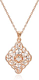 River Island Sterling Silver Diamond-Cut Filigree Diamond Shape Pendant Necklace