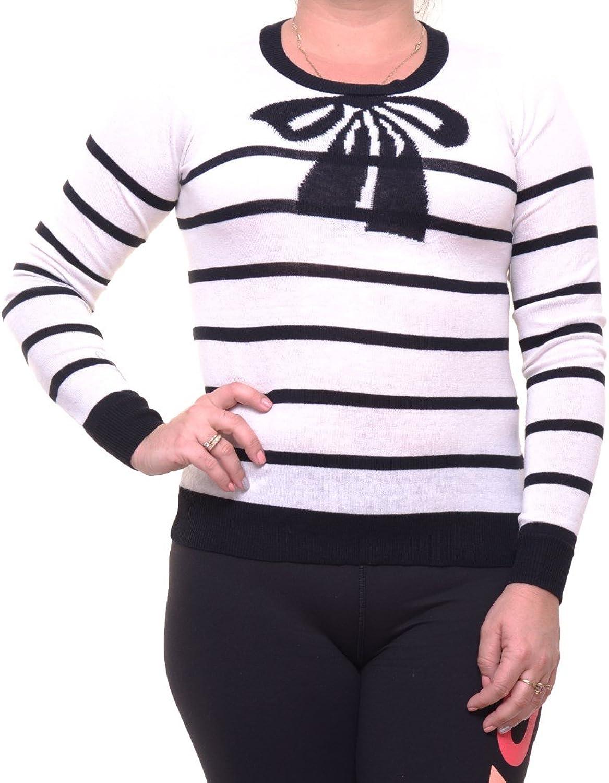 Maison Jules Womens BowPrinted Ribbed Trim Crewneck Sweater