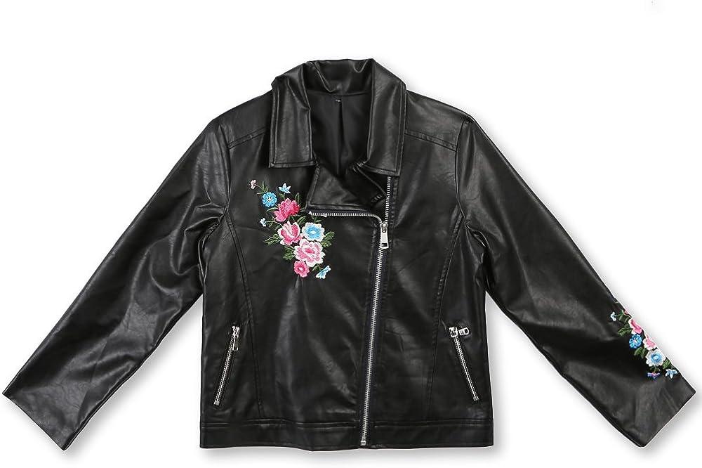 Speechless Girls' Big Embroidered Moto Jacket