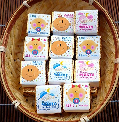 Detalles y Recuerdos de Bautizo Para Invitados - Bombones de Chocolate Personalizados - Gustará a todos Tus Invitados - 50 Bombones de Chocolate Personalizados y 2 Cestos
