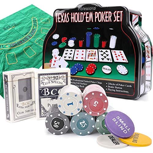 PowerKing Pokerset für Texas Holdem, Blackjack 200 Chips Pokerset mit Tischdecke Spiel für Familie Freunde Party (Poker Set)