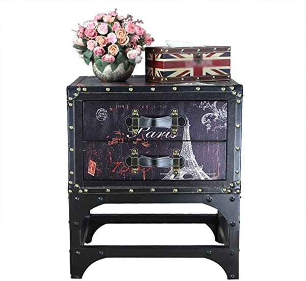 DDSS Drawer Locker Retro Style Bedside Cabinet Bedside Storage Cabinet Sofa Side Cabinet Solid Wood Iron Side Cabinet