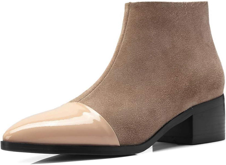 BalaMasa Womens Nubuck Solid Fabric Urethane Boots ABM12864