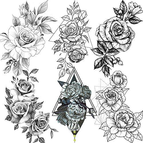 NAPPO 6 Feuilles Réaliste Grand 3D Sexy Rose Tatouage Ephemere Femme adulte Triangle Pivoine Papier Tatouage Temporaire Kit Bras Jambes Géométrique Floral faux tatouage fleur Filles Tattoo Éphémère