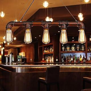 Lixada Pendant Lights Ceiling Indoor Lighting Vintage Retro Triple Lamp Hoder Bronze Metal for 5 E27 Bulbs Room Bar Decora...