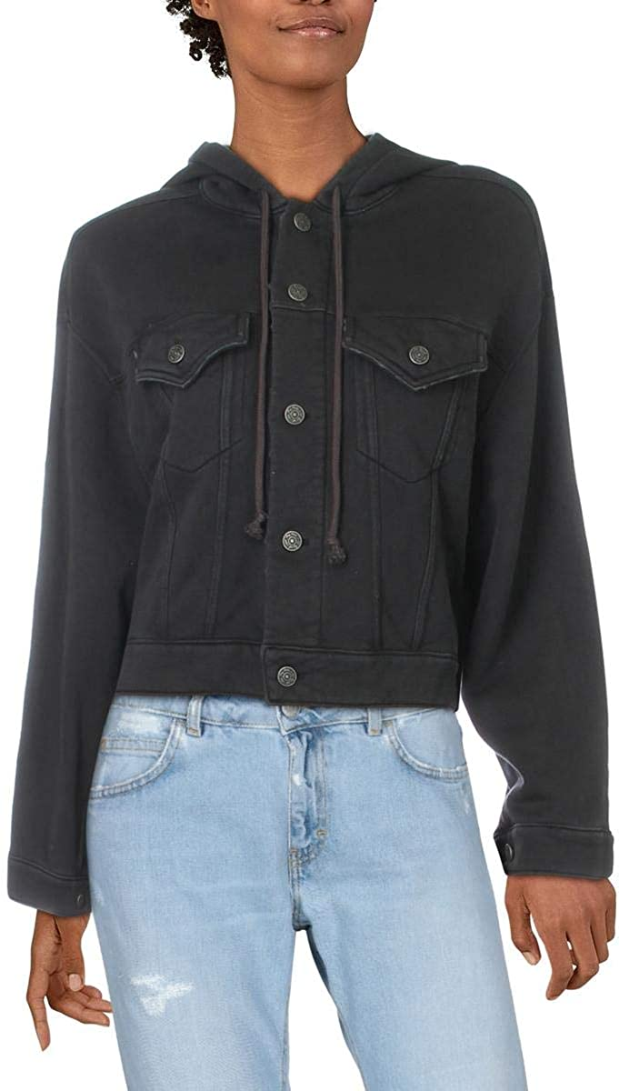 FREE PEOPLE Women's Destroyed Hooded Fleece Cropped Super New Shipping Free Shipping Special SALE held Top Jacket