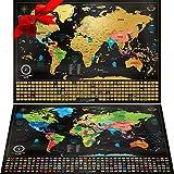 Carte du Monde à gratter XXL - Carte du Monde en Poster Extra Large et Personnalisé + Carte à gratter de l'Europe en Bonus. Inclut un Tube Cadeau Deluxe Personnalisé et 2 Cartes Détaillées