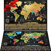🌍 SET DE DOS MAPAS DEL MUNDO: Un Mapa Mundi Grande de 61 x 43 Centímetros y un Mapa Político de Europa de 46 x 33 centímetros O Mapa de Estados Unidos . Rasca la lamina dorada de cada país que has visitado junto con su bandera, para revelar un póster...