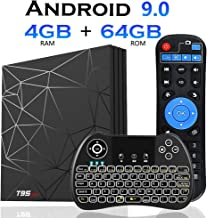 Android 9.0 TV Box[4GB+64GB]EVANPO T95 max Quad Core Smart TV Box Android Media Player Support USB 3.0/ 3D/ 4K/ 6K/ H.265/2.4G WiFi Set Top TV Box with Mini Keyboard (Backlit)