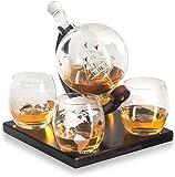 BELLE FILLE Whisky Dekanter-Set mit 4 Whisky Globus Set,für Schnaps, Scotch, Bourbon, Vodka – 850 ml
