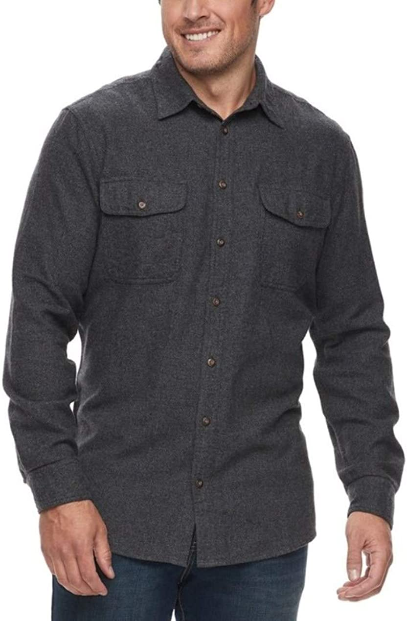Sonoma Mens Classic Fit Flannel Long Sleeves Shirt Big Tall Gray Solid - 2 Chest Pockets