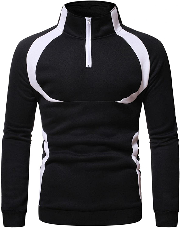 Hoodies for Men 1/4 Zip Pullover Mens Casual Pullover Long Sleeve Men's Turtleneck Color Block Fashion Hoodies & Sweatshirts