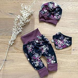 ANGEBOT Set – Hose, Schleifenmütze, Halstuch – große Rosen Schwarz Bordeaux (Bordeaux Melange) Baby Mädchen