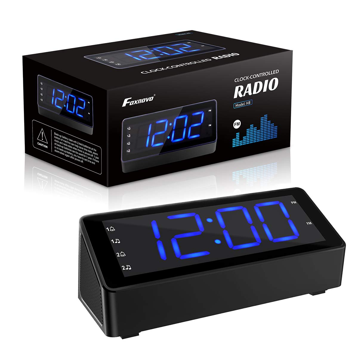 12//24 Hours FM Radio Alarm Clock with Dual USB Cable 3 LED Dimmable Screen Dual Alarms Backup Battery for Clock Setting Snooze Function Foxnovo Digital Alarm Clock for Bedrooms