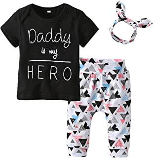 puseky 3pcs/Set Infant Toddler Baby Boy Girl Clothes Daddy is My Hero T-Shirt Tops+Triangle Pants+Headband Outfits Set