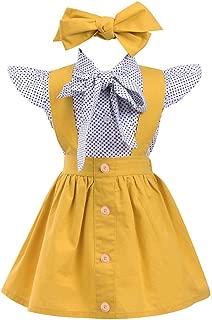 Kehen 3pc Kid Toddler Baby Girl Dress Set Polka Dot Ruffles Sleeve Bow Shirt+Suspender Braces Skirt Overalls + Headband