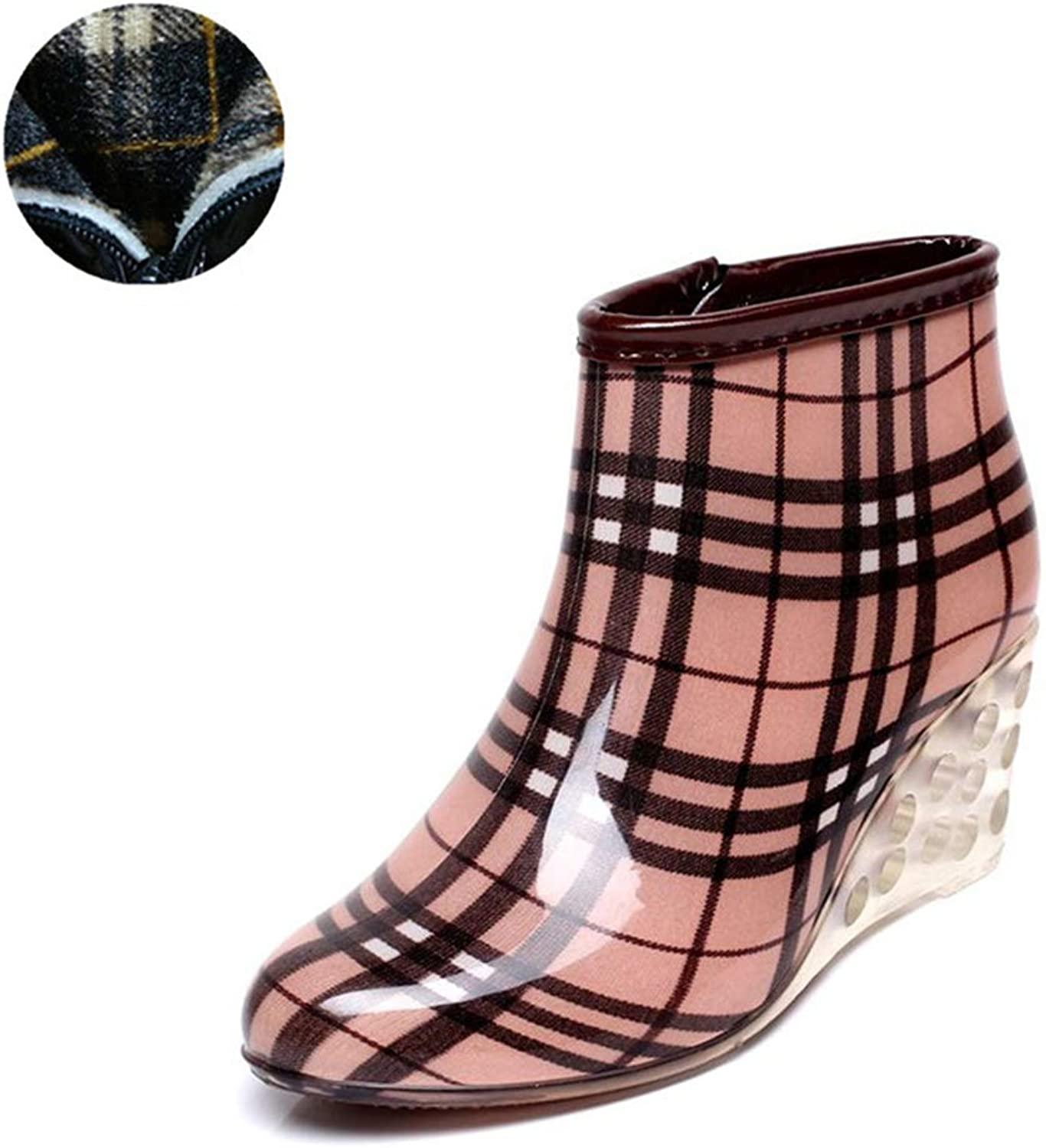 Fancyww Women's & Ladie's Ankle Rain Boots, Short Wedge Heels Garden Booties
