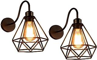 Appliques Murales Vintage Industrielle Noir Diamant Cage en Métal Plafonnier Luminaire E27 Edison Rétro Applique Intérieur...
