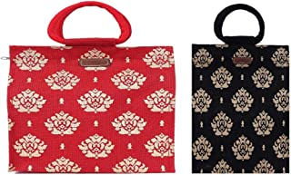 ECOTARA Gold 100% Natural Jute Shopping Bag Large Red & Black Small Combo