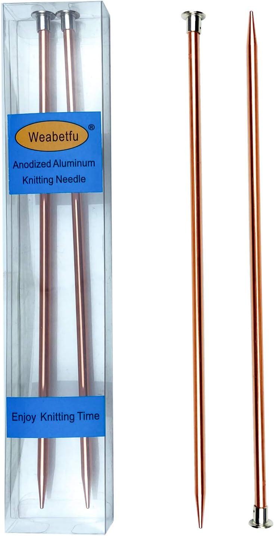 Weabetfu Aluminum Boston Mall Metal Knitting Straight Needle Single Regular store Colored
