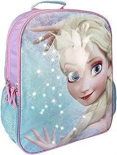 Frozen Elsa Light Up - Mochila de viaje escolar 3D (tamaño pequeño), color azul