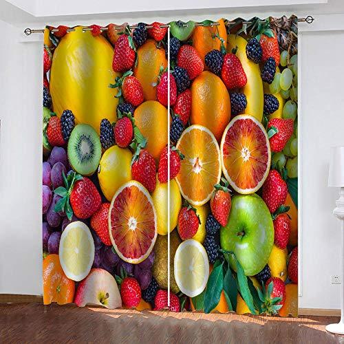 nobrand 3D Cortinas Opacas Patrón De Frutas,100% Poliéster Antibacteriano Sala De Estar Dormitorio Cocina Moderna Decoración del Hogar182Wx214H Cm