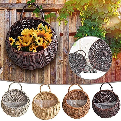 Amandaz Cesta de almacenamiento tejida hecha a mano para colgar en la pared, cesta tejida para el vientre para el almacenamiento de la maceta y la colada, picnic y cesta de comestibles