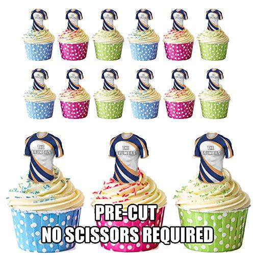 vorgeschnittenen der brumbies Rugby Shirts Essbare Cupcake Topper/Kuchen Dekorationen (12Stück)