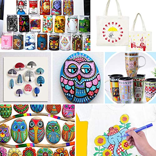 Paint Pens for Rock Painting Stone Ceramic Glass Wood Fabric Canvas Mugs Card 2 mm Fast Drying DIY Craft Making Supplies Scrapbooking Craft Acrylic Paint Marker Pens Set of 12 Colors Photo #7