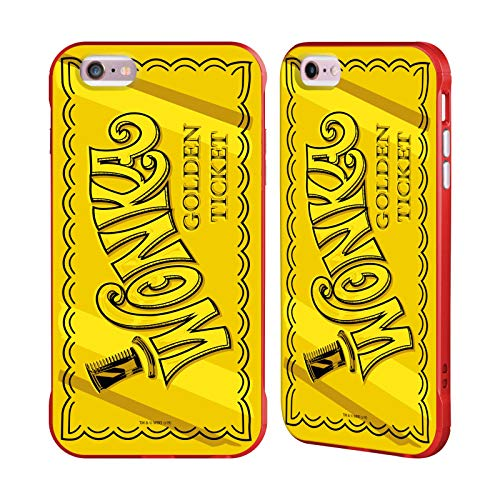 Head Case Designs Ufficiale Willy Wonka And The Chocolate Factory Ticket d'oro Grafiche Cover Fender Rossa Compatibile con Apple iPhone 6 Plus/iPhone 6s Plus