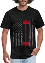 Spreadshirt Weightlifting American Flag Barbell Men's T-Shirt