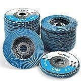 LotFancy Disco Abrasivo 115mm 20 Piezas Mezclado Disco de Láminas 40/60/80/120 Grano, Discos de Lijado Abrasivo de óxido de Zirconia