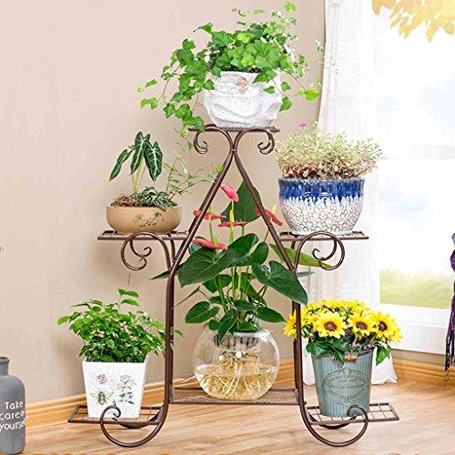 MILUCE Iron Art Ensemble de fleurs de plancher à plusieurs étages, en trois couleurs en option (blanc / noir / marron), salon multifonctionnel Balcon en pot de salon ( Couleur : Marron , taille : 83*23*80cm )