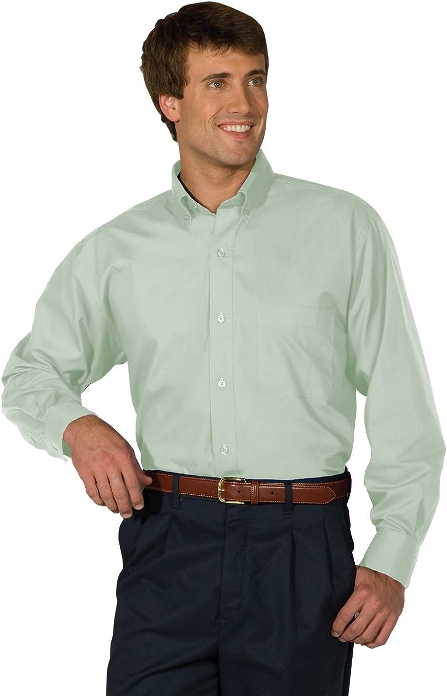 Edwards Garment Men's Big And Tall Easy Care Poplin Long Sleeve Shirt_CUCUMBER_LT