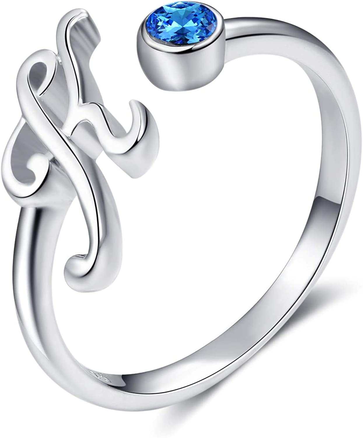WINNICACA 26 Letter All items in the store Initial Rings service Silver Sterling Adjustable Blu
