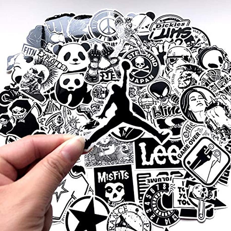 Black and White,Wickedly Cool Stickers(60pcs), Comic Computer Stickers,Vinyl Stickers for Car Bike Laptop MacBook Skateboard Luggage Decal Graffiti Patches Stickers in Bulk.