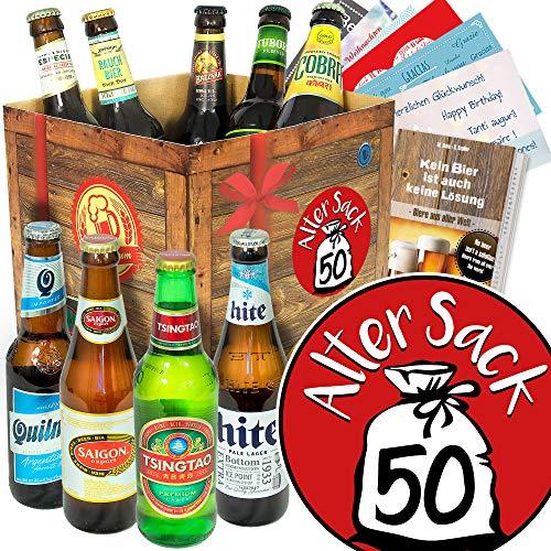 Alter Sack 50 / Biere aus aller Welt / 50 Geburtstagsgeschenk Mann