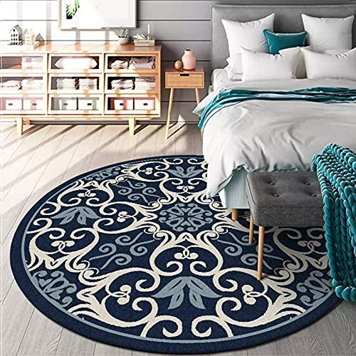 Traditionellt klassiskt mönster runda mattor blå stor matta för vardagsrum sovrum hall golvmatta (rund, 120 cm)