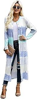 GFBVC Cárdigan De Mujer Tie Dye-Capa del suéter de Punto for Mujeres Cardigan Largo otoño/Invierno Europeo y Americano de ...