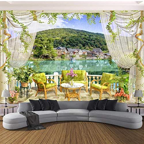 Lllyzz 3D-behang, landelijke stijl, balkon, zee, landschap, foto, wand, woonkamer, tv, bank, eettafel, achtergrond, decoratie voor de muur