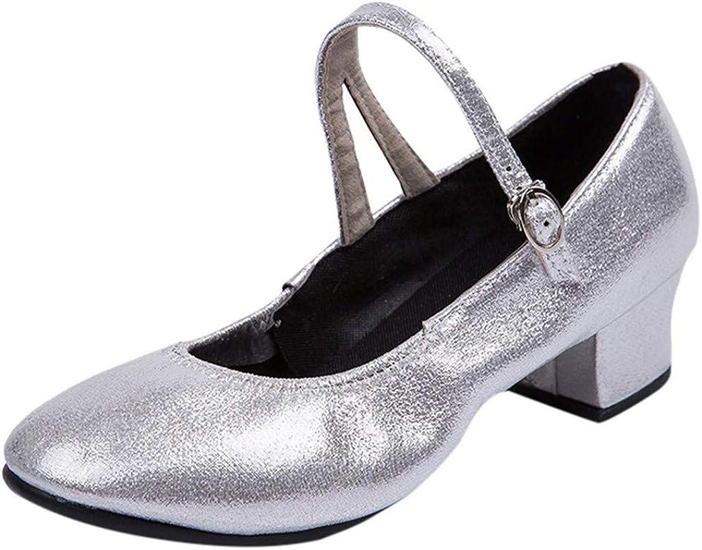 RQWEIN Low Heel Women Ballroom Shoes Latin Salsa Dance Shoes for Social Beginner Practice Wedding Dancing 1.5 Inch Heel