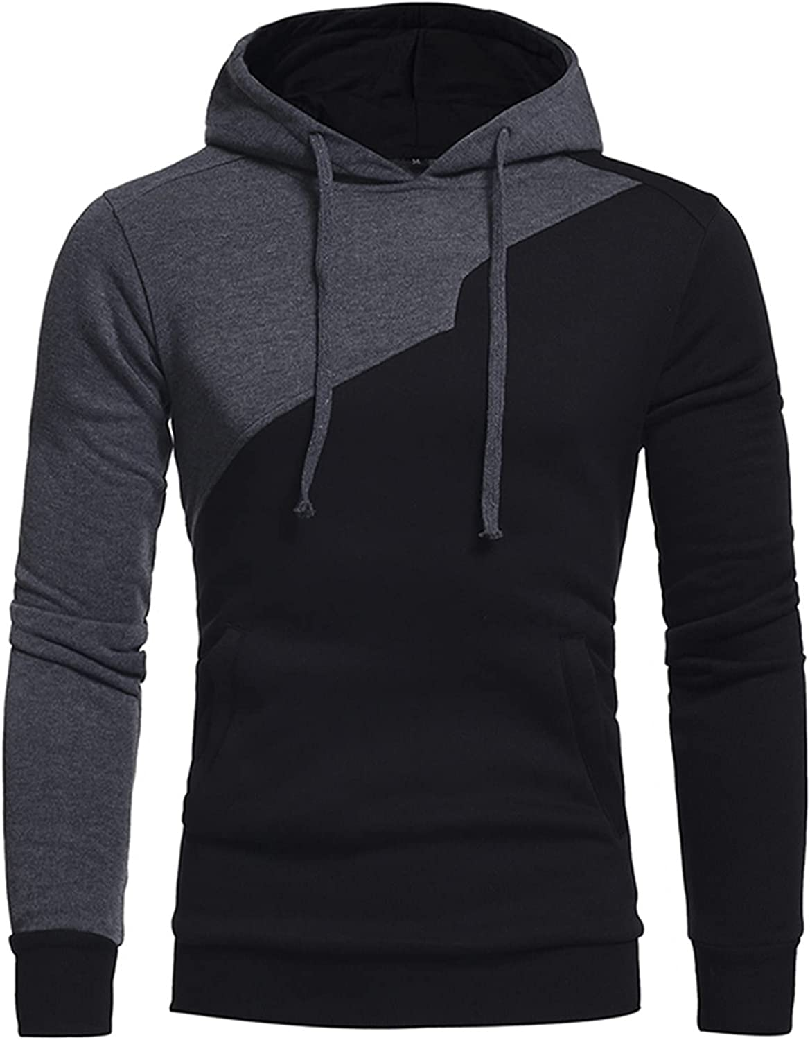 HONGJ Stitching Hoodies for Mens, Color Block Patchwork Drawstring Casual Hooded Sweatshirts Workout Fitness Pullover