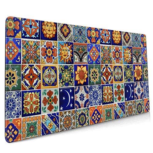 Mau Mat,Talavera Mexican Tiles Mauspad, Funktionales Laptop-Gaming-Pad Für Home-Office-Dekor,40x90cm