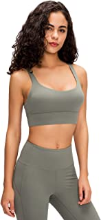 Women's Shockproof Sports Bra, Cross Back Breathable Fitness Workout Running Yoga Tank Top,Green,4